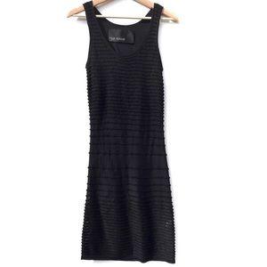 Yigal Azrouel Black Ribbed Bodycon Midi Dress Sz S